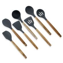 7PCS Silicone Kitchen Utensils With Beech Wood Handle