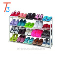 20 pair plastic and metal space saving free standing shoe rack