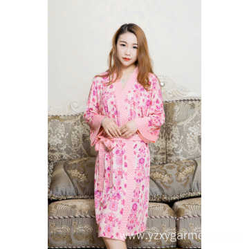 Pink flower printing viscose nightdress for women