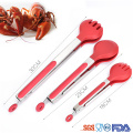 Circle head kitchen silicone tong