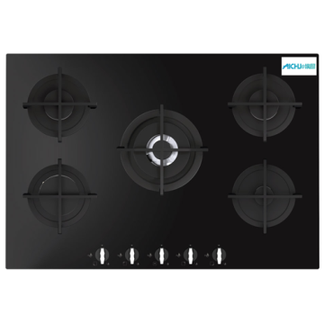 Five Burner Gas on Glass Hob In India