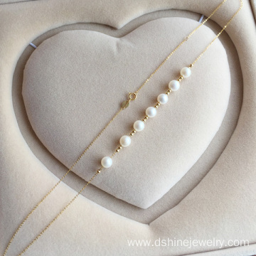 Exquisite 18K Gold Chain Women Jewelry Real Pearl Necklace
