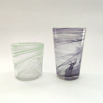 swirl effect high ball glass water cup tumbler