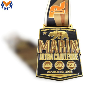 Round shape with black ribbon sport race copper medal