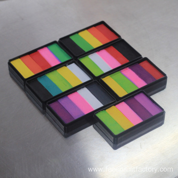 Stroke split cake rainbow flag face paint