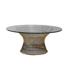 Warren Platner Tempered Glass Stainless Steel Coffee Table