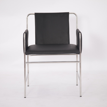 Black genuine leather modern envelope chair
