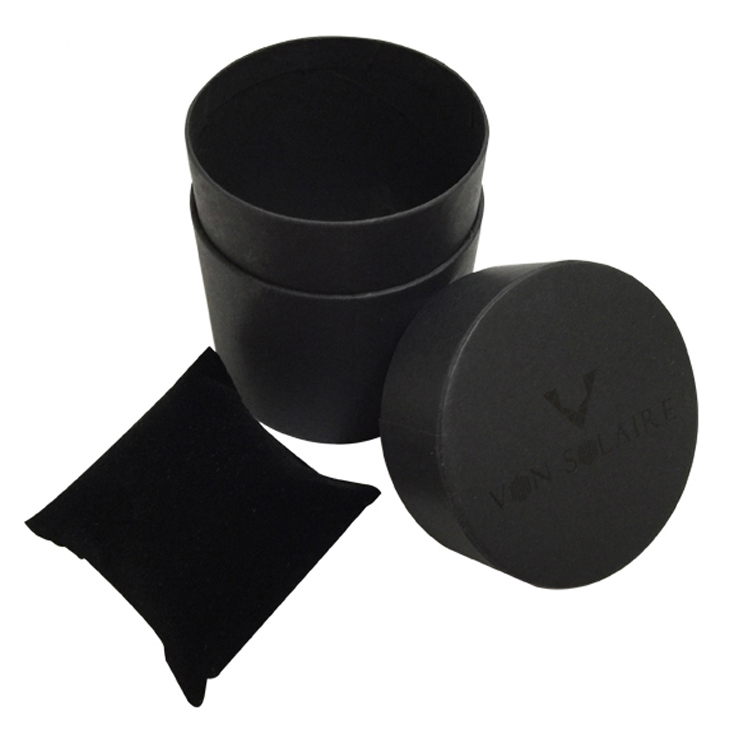 Black Round Shaped Paper Gift Box For Watch