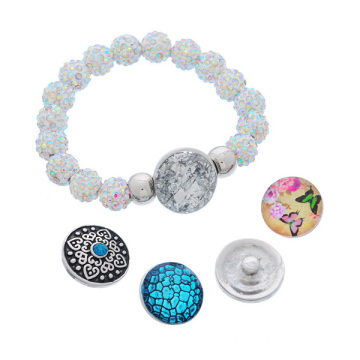 Colorful Shamballa Beads Noosa Snap Bracelet With DIY Button