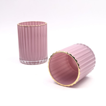 Ribbed Glass Candle Jars With Gold Rim