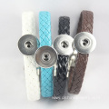 Multi Colorful Weaved Leather Noosa Bangle With DIY Buttons