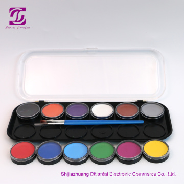 Water-based Halloween face painting colours palette