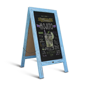 "Factory Price for Vintage Blackboard Stand Robin blue Large 40"" x 20"" Sturdy Sandwich Board shabby A Frame Restaurant Message Board export to Tunisia Wholesale"