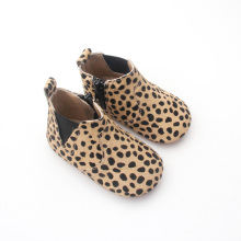 China Gold Supplier for Baby Boots Wholesale Winter Leopard Baby Genuine Leather Boots export to France Factory