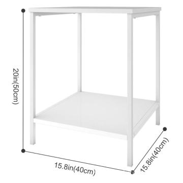 2-Tier Nightstand,Side Table End  for Bedroom Living Room, Modern Collection, Square, White