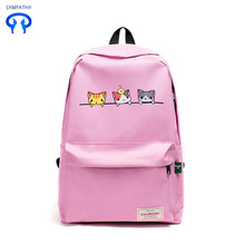New nylon cute cat backpack lady bag college