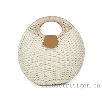 Wholesale Cheap woven rattan Handbags White Handmade Straw Wicker Shell Clutch Bags