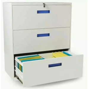 Blue Handle 3 Drawer Lateral File Cabinet