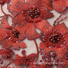 Red Handwork Embroidery Designe Fabric for Dress
