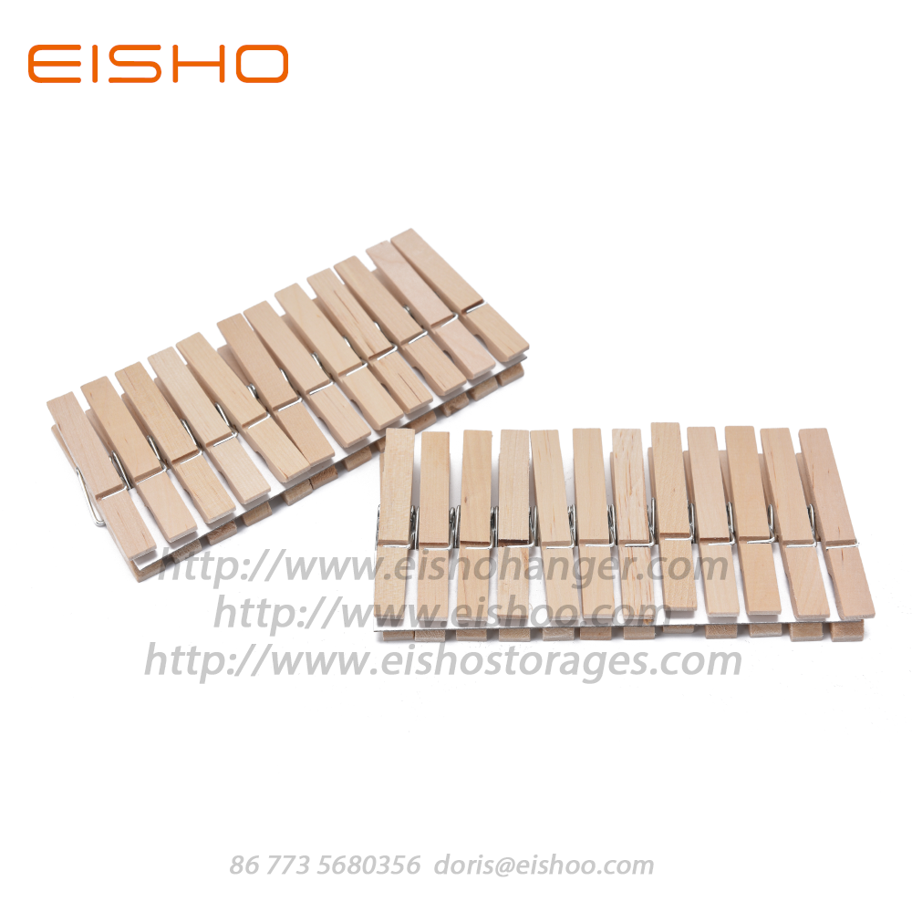 EISHO Household Classic Birch wood Clothespins Clips