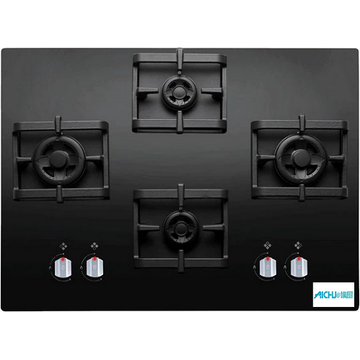 Elica Black Glass Finish 4 Burner Gas Hob
