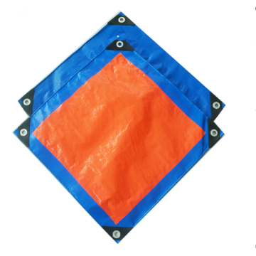 blue orange tarpaulin with reinforced corner