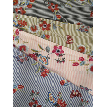 Stripe Embroidery Rayon Poplin shuttle 45S Printing Fabric