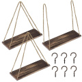 3 Pack Hanging Rustic Rope Shelf Wall Floating Shelves Swing Shelves