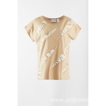Applique solid T shirt with short sleeve