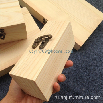 Wood Small Wooden Box With Lid and Lock Jewerally Storage Box Gift Box
