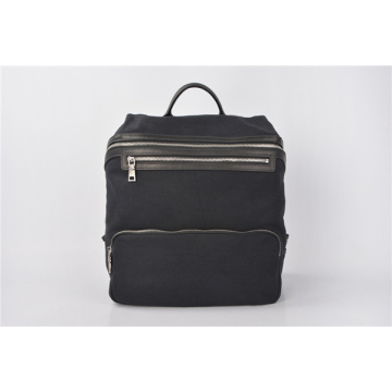 Quadra Heritage Waxed Large Canvas Backpack In Black