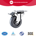 Braked Plate Swivel TPR Stainless Steel Caster