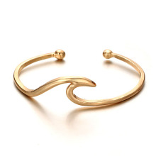 Rose gold womens ocean wave cuff bracelet