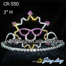"3"" Wholesale purple crystal custom Christmas pageant crowns"