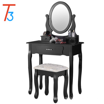 Vanity Table Set with Oval Mirror Makeup Dressing 3 Drawers and Cushioned Stool Black