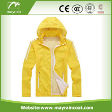 Bright Yellow Polyester with PU Coating Raincoat
