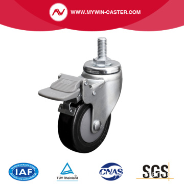 Zinc 3 Inch 70Kg Threaded Brake PU Caster