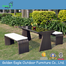 Garden Wicker Long Bench Set With Cushion