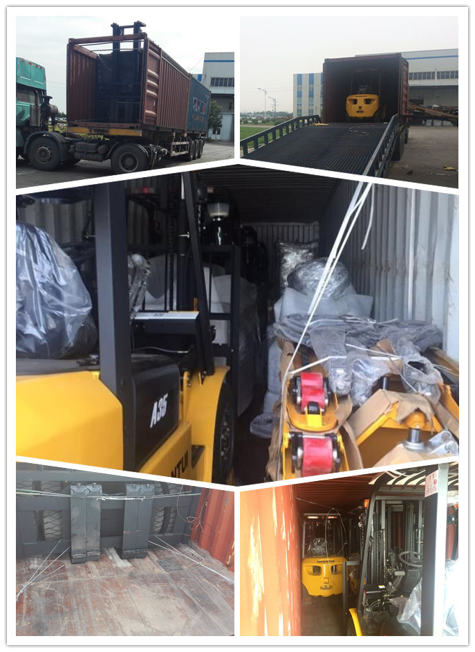 forklift loading in container