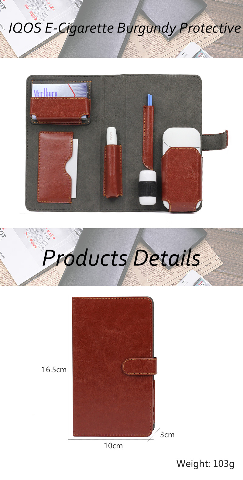 Burgundy Iqos Wallet Case