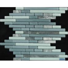 Gray Strip Glass Mixed Marble Decoration Mosaic