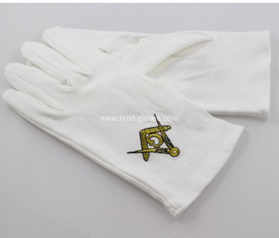 White Kid Masonic Sword Gloves