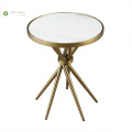 Modern Marble Top Side Table With Metal Legs