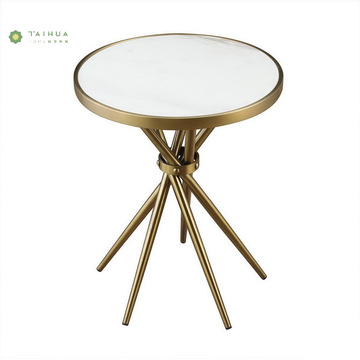 Mga Modernong Marble Top Side Table na May Mga binti ng Metal