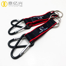 promotional logo customized carabiner short lanyard keychain
