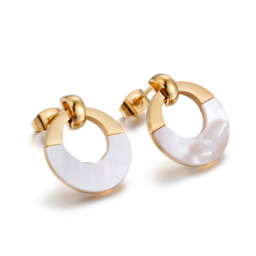 Flat gold circle stud earrings for women