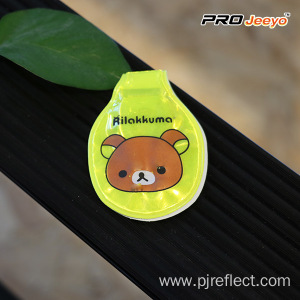 Reflective Fluo Yellow Bear Led Magnetic Clip