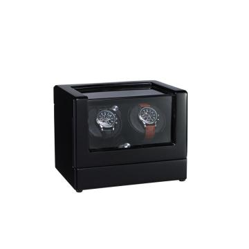 black finish watch winder with PU Leather