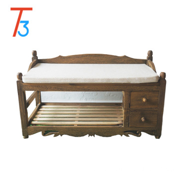 China for Shoe Storage Bench solid wood footstool bench cushion and wicker drawers export to United Arab Emirates Wholesale
