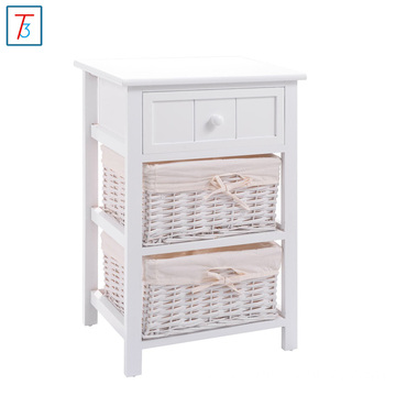Night Stand Storage Drawer, 2 Baskets and Open Shelf for Bedroom